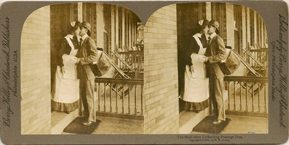 Stereocard, The Mailman Collecting Postage Due, Berry, Kelley & Chadwick Publishers, 1904