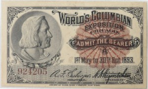 Admission ticket from the 1893 World's Columbian Exposition