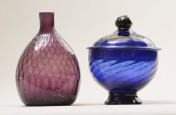 Bottle and sugar bowl, American Flint Glass Manufactory, 1765-1775