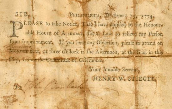 Request from Henry William Stiegel to be released from prison, 1774