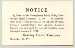 Notice, dated December 15, 1941, stating that trolley service between Campbelltown and Lebanon would end January 9, 1942.