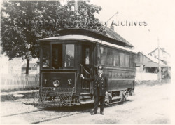 Conductor William Harper standing beside Hershey Transit Company trolley in Campbelltown, PA, c.1913. Courtesy Hershey Community Archives.