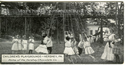 Bar Card featuring image of children's playground at Hershey Park, 1909-1918. Courtesy Hershey Community Archives.