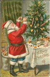 Christmas Postcard, 1906, featuring Santa Claus looking much like we know him today.