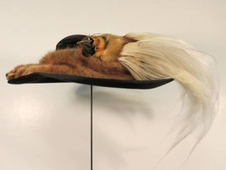 Purchased at Dives, Pomeroy and Stewart in Harrisburg, PA, this hat is trimmed with a mink and a bird-of-paradise, c. 1920