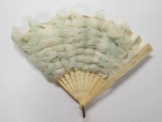 Hand fan made with ivory slats and pale blue feathers, 1850-1900