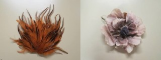 Feather and artificial flower used as hat trimmings