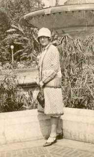 Amanda Straw standing in Pershing Square, Los Angles, California, 1930