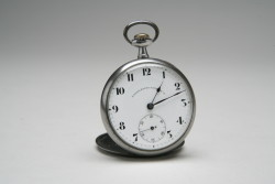 Hershey's mourning pocket watch was made by Eterna, a watch company originally based in Switzerland.